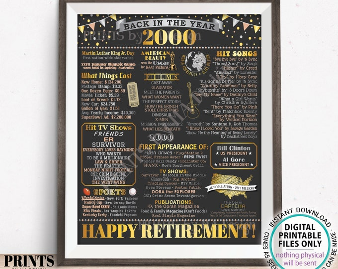 """Back in the Year 2000 Retirement Party Poster Board, Flashback to 2000 Sign, PRINTABLE 16x20"""" Retirement Party Decoration <ID>"""