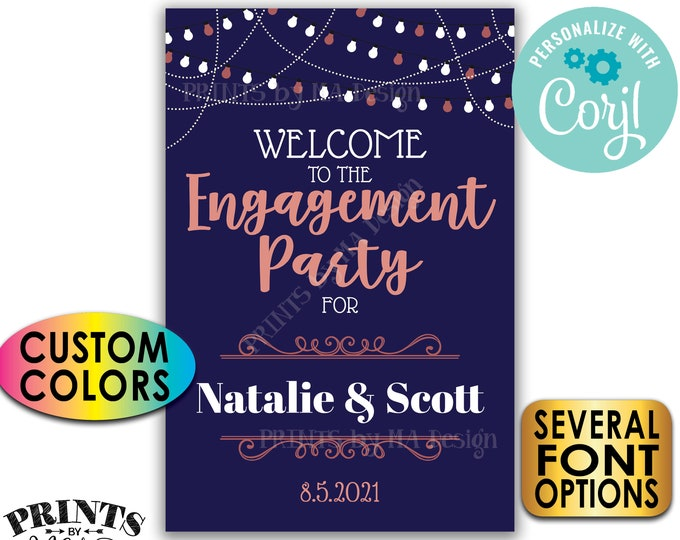 """Engagement Party Welcome Sign, Color Background, Custom PRINTABLE 24x36"""" Engagement Party Decoration <Edit Yourself with Corjl>"""