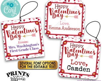 """Happy Valentine's Day Tags, School Goodie Bag, Holiday Treat, 2"""" Square Cards on Digital PRINTABLE 8.5x11"""" File <Edit Yourself with Corjl>"""