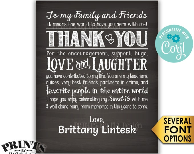 """Sweet 16 Thank You Sign, Sweet Sixteen Birthday Poster, PRINTABLE 8x10/16x20"""" Chalkboard Style 16th Bday Sign <Edit Yourself with Corjl>"""