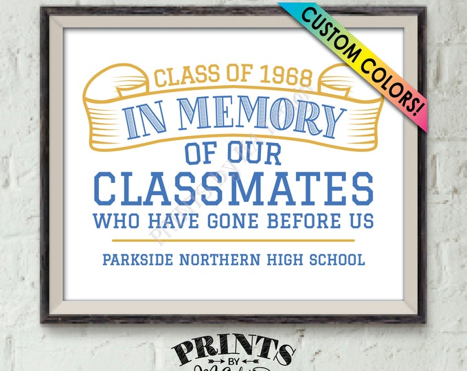 "In Memory Sign for Reunion Memorial, In Memoriam of the Classmates Who Have Gone Before Us, Deceased, PRINTABLE 8x10"" Classmate Memory Sign"