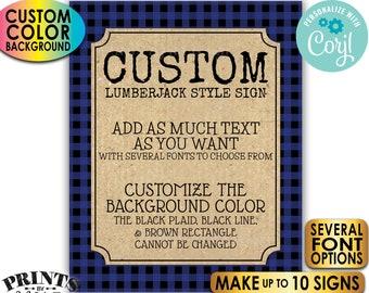 "Custom Lumberjack Signs, Choose Your Text, Ten PRINTABLE 8x10/16x20"" Portrait Signs, Custom Color Buffalo Plaid <Edit Yourself with Corjl>"
