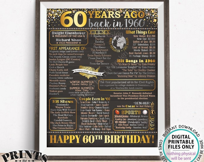 "60th Birthday Back in 1960 Sign, Flashback 60 Years Ago B-day Gift, Born in 1960 Poster Board, PRINTABLE 16x20"" Sign <ID>"