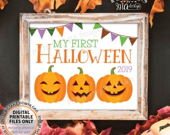 "My First Halloween Sign, Baby's 1st Halloween Photo Prop, Jack-O-Lantern Pumpkins, PRINTABLE 8x10/16x20"" My First Halloween 2019 Sign <ID>"