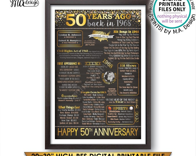 """50th Anniversary Gift, 1968 Flashback 50 Years Back in 1968 Married in 1968 Anniversary, Gold, PRINTABLE 20x30"""" Chalkboard Style Sign <ID>"""