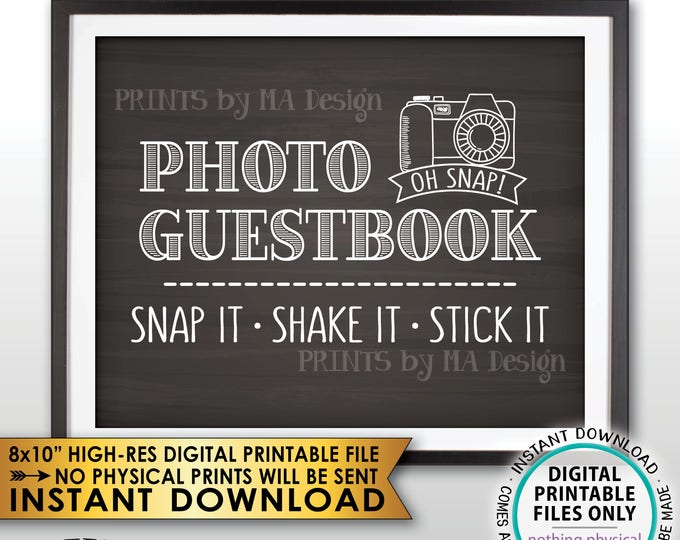 "Photo Guestbook Sign, Snap It Shake It Stick It, Add photo to the Guest Book Sign, PRINTABLE 8x10"" Chalkboard Style Instant Download Sign"