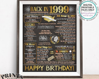 "1999 Birthday Flashback Poster Board, Back in 1999 Birthday Decoration, '99 B-day Gift, PRINTABLE 16x20"" Sign <ID>"