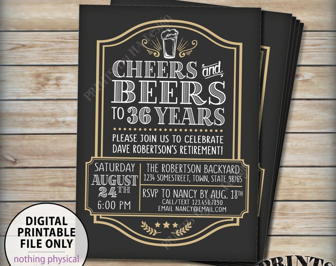 "Retirement Inviation, Cheers & Beers to Retirement Years, Cheers to the Retiree Beer Invite, PRINTABLE 5x7"" Cheers and Beers Invitation"