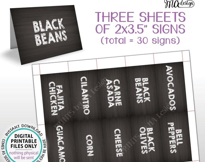 "Taco Bar Labels, Fiesta Mini Menu Taco Menu Signs, PRINTABLE 8.5x11"" Sheet of Thirty 2""x3.5"" Chalkboard Style Labels <ID>"