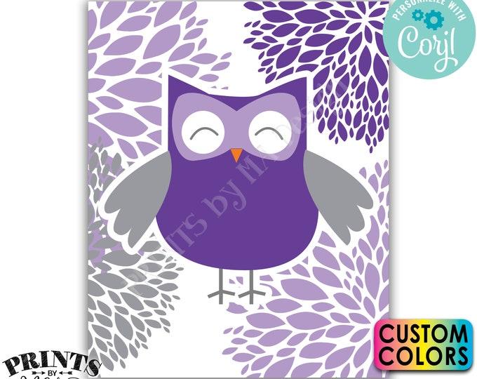 "Editable Owl Decoration, Owl Baby Shower, Owl Nursery, Floral Starburst, Custom PRINTABLE 8x10/16x20"" Sign <Edit Colors Yourself w/Corjl>"