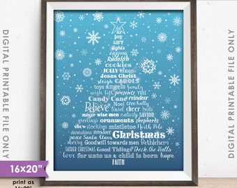 "Christmas Words Tree Holiday Words Christmas Tree, X-mas Tree Christmas Sign,  Blue Snowflake 8x10/16x20"" Instant Download Digital Printable"
