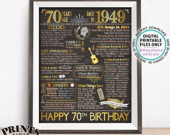 "70th Birthday Gift, Flashback 70 Years Ago Back in 1949 B-day, Born in 1949 Birthday, PRINTABLE 16x20"" Bday Sign <ID>"
