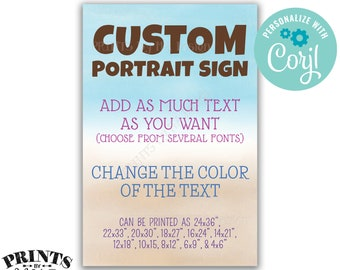 """Custom Watercolor Style Portrait Sign, Choose Your Text, Change Text Colors, Beach, Custom PRINTABLE 24x36"""" Sign <Edit Yourself with Corjl>"""