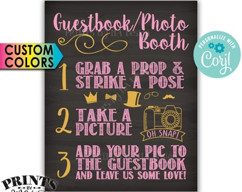 """Wedding Guestbook Photobooth Sign, Add Pic & Leave Us Love, PRINTABLE Chalkboard Style 8x10""""/16x20"""" Sign <Edit Colors Yourself with Corjl>"""