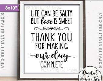 """Popcorn Sign, Thank you for making our day Complete Sign, Life can be salty but Love is Sweet, 8x10"""" Instant Download Digital Printable File"""