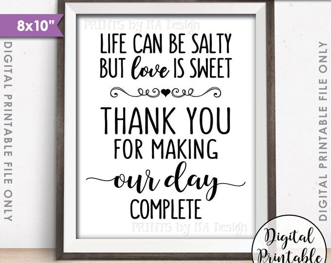 "Popcorn Sign, Thank you for making our day Complete Sign, Life can be salty but Love is Sweet, 8x10"" Instant Download Digital Printable File"
