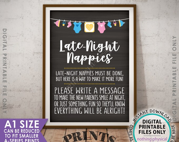 Late Night Nappy Sign Late-Night Nappies Sign the Nappy Thoughts, Gender Neutral Chalkboard Style Baby Shower Game, PRINTABLE A1 Sign <ID>