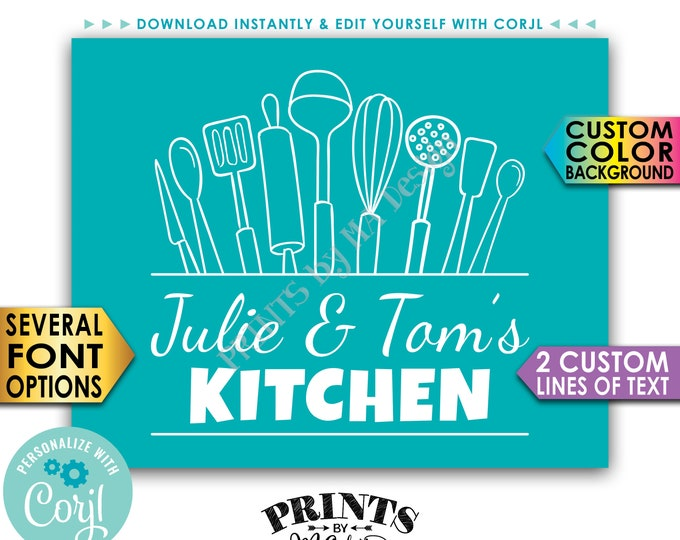"Custom Kitchen Decor, Kitchen Wall Art, Edit the Two Lines of Text & Background Color, PRINTABLE 8x10/16x20"" Sign <Edit Yourself with Corjl>"
