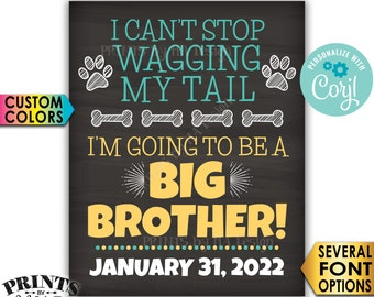 Dog Pregnancy Announcement Sign, I'm Going to be a Big Brother, Wagging Tail, PRINTABLE Chalkboard Style Sign <Edit Yourself with Corjl>