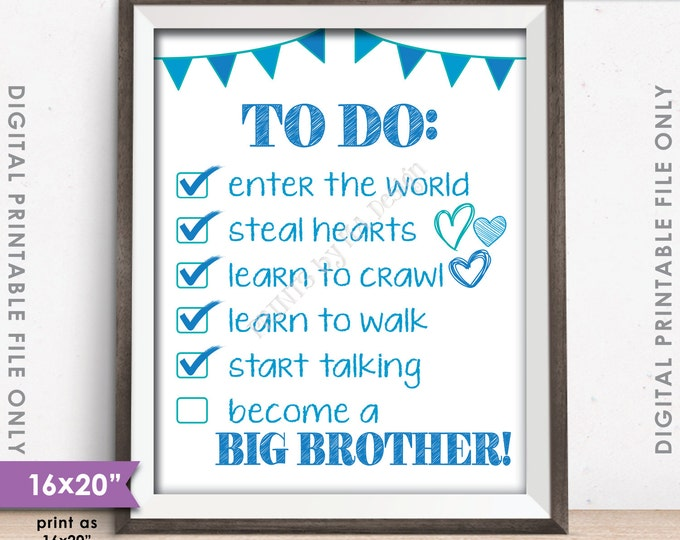 """To Do List Big Brother Checklist Announcement Sign, Pregnancy Announcement Pregnant Baby #2, 8x10/16x20"""" Instant Download Digital Printable"""