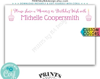 """Share a Memory or Birthday Wish Card, Leave a Memory or Wish, Bday Party Activity, Custom 4x6"""" Printable Card <Edit Yourself with Corjl>"""