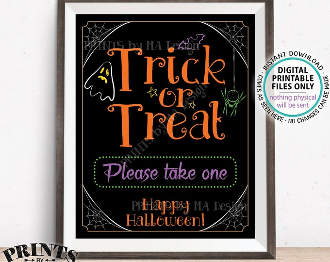 "Trick or Treat Sign, Please Take One, Help Yourself to Candy Sign, Spider, Ghost, Festive PRINTABLE 8x10/16x20"" Halloween Treat Sign <ID>"