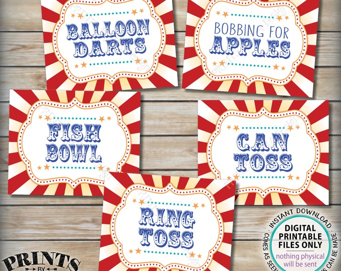 "Carnival Games Signs, Circus Party Activities, Can & Ring Toss, Balloon Darts, Fish Bowl, Apples, PRINTABLE 8x10/16x20"" Carnival Signs <ID>"