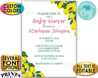 "Lemon Baby Shower Invitation, Tuscan Garden Party, Summer Lemonade, Custom 5x7"" Digital Printable File <Edit Yourself with Corjl>"