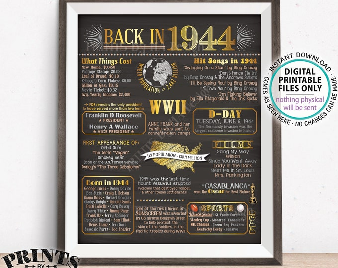 """Back in 1944 Flashback Poster Board, USA History Remember 1944 Flashback Poster, PRINTABLE 16x20"""" Back in 44 Sign <ID>"""