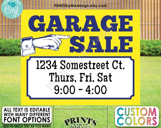 "Editable Garage Sale Sign, Yard Sale, Custom PRINTABLE 8x10/16x20"" Landscape Sign with Hand Pointing <Edit Yourself w/Corjl>"
