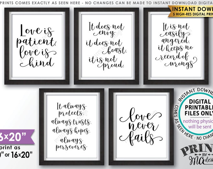 """Love is Patient Love is Kind Wedding Aisle Signs, 1 Corinthians 13, Love Never Fails, Set of Five PRINTABLE 8x10/16x20""""  Wedding Signs <ID>"""
