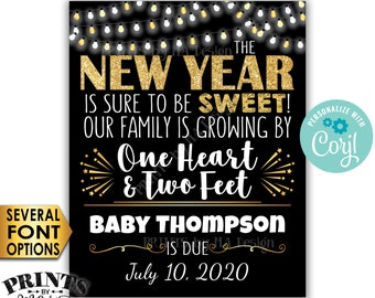 New Years Pregnancy Announcement, Our Family is Growing by 1 Heart & 2 Feet, PRINTABLE Baby Reveal Sign <Edit Yourself with Corjl>
