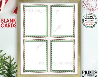 """Christmas Cards, Notes from the Elf, Xmas Party Labels, PRINTABLE 8.5x11"""" Sheet of Four Blank Cards, Candy Cane Stripes <ID>"""