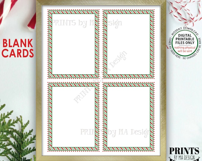 "Christmas Cards, Notes from the Elf, Xmas Party Labels, PRINTABLE 8.5x11"" Sheet of Four Blank Cards, Candy Cane Stripes <ID>"