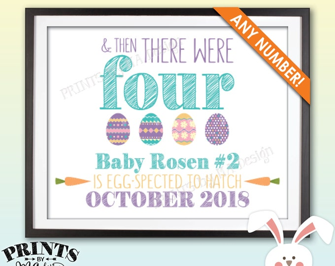"Easter Pregnancy Announcement, And Then There Were Custom Number Easter Eggs Pregnancy Reveal, PRINTABLE 8x10/16x20"" Easter Pregnancy Sign"