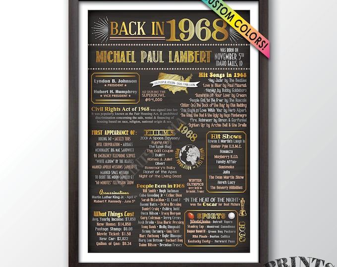 "1968 Birthday Gift, Remember 1968 Birthday Party Decor, 1968 Flashback, Custom Chalkboard Style PRINTABLE 24x36"" Back in 1968 Bday Poster"