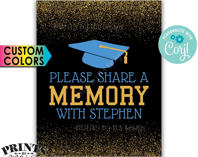 "Share a Memory Sign, Share a Favorite Memory with the Grad, 8x10"" PRINTABLE Graduation Party Decoration <Edit Yourself with Corjl>"