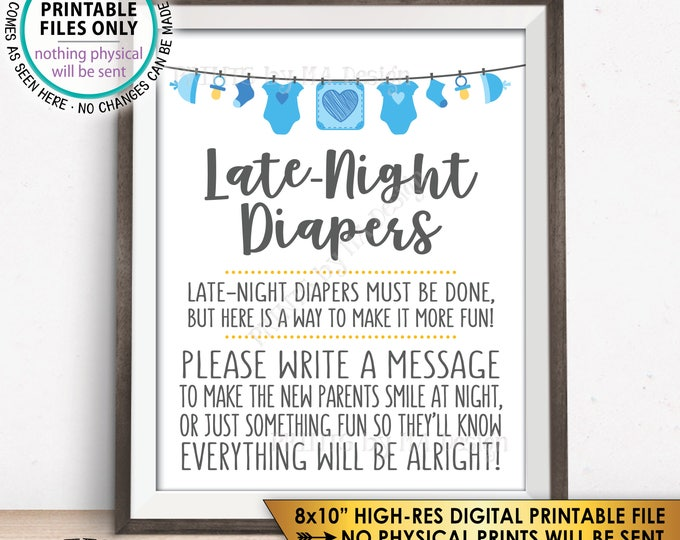 "Late Night Diaper Sign, Late-Night Diapers Sign the Diaper Thoughts, It's a Boy, Blue PRINTABLE 8x10"" Baby Shower Game Sign <ID>"