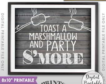 "S'more Sign, Party Smore Station, Toast Marshmallows, Roast S'mores Bar, Campfire, 8x10"" Rustic Wood Style Printable Instant Download"