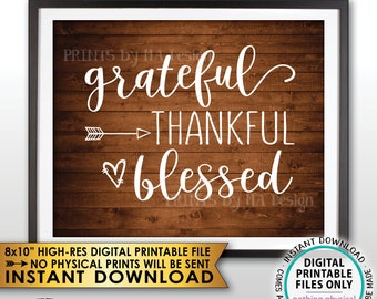 """Grateful Thankful Blessed Sign, Thanksgiving Wall Decor Fall Decor Blessing Autumn Decor, Rustic Wood Style PRINTABLE 8x10"""" Instant Download"""
