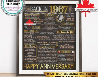 "CANADA 1967 Poster, Anniversary Flashback to 1967 Canadian History Back in 1967 Wedding, Gold, PRINTABLE 16x20"" Sign <ID>"