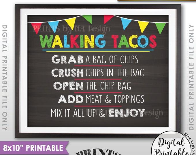 "Walking Tacos Sign, Taco Bar Sign, Cinco de Mayo Fiesta, PRINTABLE 8x10"" Landscape Chalkboard Style Taco Sign <ID>"