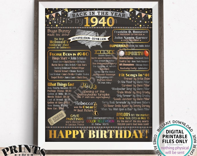 """Back in the Year 1940 Birthday Sign, Flashback to 1940 Poster Board, '40 B-day Gift, Bday Decoration, PRINTABLE 16x20"""" 1940 Sign <ID>"""
