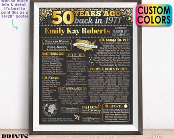 """50th Birthday Poster Board, Back in 1971 Flashback 50 Years Ago B-day Gift, Custom PRINTABLE 16x20"""" Born in 1971 Sign"""