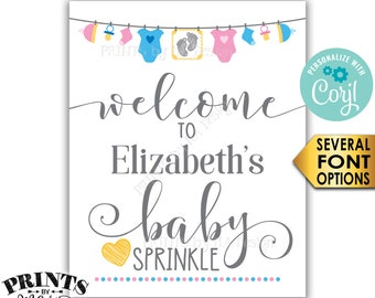 """Baby Sprinkle Welcome Sign, Pink & Blue Clothesline Baby Decor, Gender Neutral PRINTABLE 8x10/16x20"""" Sign <Edit Yourself with Corjl>"""