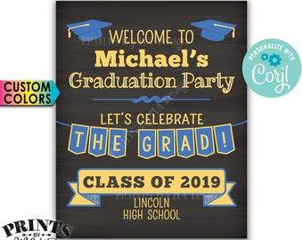 """Welcome to the Graduation Party Sign, Graduation Party Decorations, PRINTABLE 8x10/16x20"""" Chalkboard Style Sign <Edit Yourself with Corjl>"""