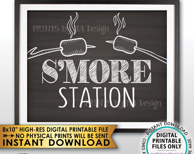 """S'more Station Sign, Roast Marshmallows Smore Station, Toast Roast S'mores Bar, Campfire, PRINTABLE 8x10"""" Chalkboard Style S'more Sign <ID>"""