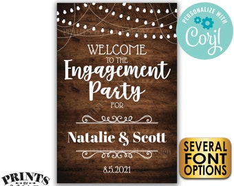 """Engagement Party Sign, Custom PRINTABLE 24x36"""" Rustic Wood Style Engagement Party Welcome Sign Decoration <Edit Yourself with Corjl>"""
