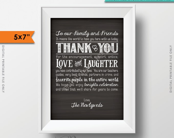 "Wedding Thank You 5x7"" Card, Thanks Sign Chalkboard Thank You Wedding, Thank family and friends, Instant Download Digital Printable File"
