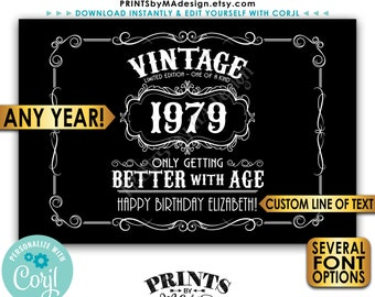 "Vintage Birthday Sign, Better with Age Liquor Themed Party, Custom PRINTABLE 24x36"" Black & White Sign <Edit Yourself with Corjl>"